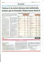 Tortosa és la ciutat ebrenca més endeutada, mentre que la Fatarella i Batea tenen deute 0.