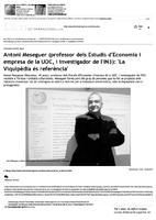 """Antoni Meseguer (professor dels Estudis d'Economia i empresa de la UOC, i investigador de l'IN3): """"La Viquipèdia és referència"""""""