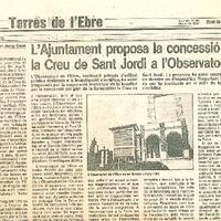 L'Ajuntament proposa la concessió de la Creu de Sant Jordi a l'Observatori