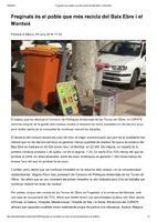 Freginals és el poble que més recicla del Baix Ebre i el Montsià