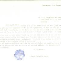 Ramon Tafalla, president del CD Roquetenc, escriu Jordi Angelats, president del CD Tortosa, per agrair-li la cessió del jugador Miguel Ángel Gas