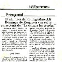 """Els alumnes del Col·legi Marcel·lí Domingo de Roquetes van rebre un accèssit de """"La caixa a les escoles"""""""