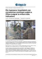 Els ingressos hospitalaris per coronavirus continuen pujant a l'Ebre malgrat la millora dels indicadors.