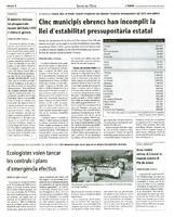 Cinc municipis ebrencs han incomplit la llei d'estabilitat pressupostària estatal