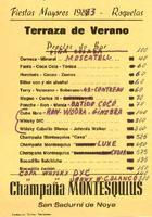 Llistat de preus del bar del CD Roquetenc per a les Festes Majors, 1983
