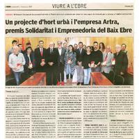Un projecte d'hort urbà i l'empresa Artra, premis Solidaritat i Emprenedoria del Baix EBre.