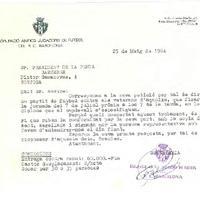 Comunicat del CD Roquetenc sol·licitant la disputa d'un partit entre el CD Roquetenc i l'equip de veterans del FC Barcelona, 1984