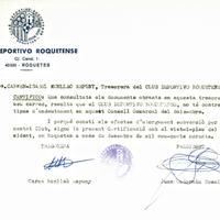 Carme Monllaó, tresorera del CD Roquetenc, certifica que el club no té contret cap endeutament amb el Consell Comarcal del Baix Ebre