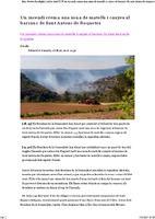 Un incendi crema una zona de matolls i canyes al barranc de Sant Antoni de Roquetes