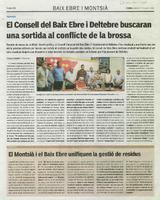 El Consell del Baix Ebre i Deltebre buscaran una sortida al conflicte de la brossa.
