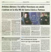Artistes ebrencs i la millor literatura en català s'uniran en la 65a Nit de Santa Llúcia a Tortosa