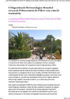 L'Organització Meteorològica Mundial reconeix l'Observatori de l'Ebre com estació centenària.