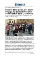 L'alcalde de Roquetes, a un pas de ser jutjat per desobediència arran del referèndum de l'1-O al municipi.