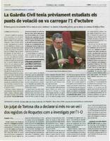 Un jutjat de Tortosa cita a declarar si més no un veí i dos regidors de Roquetes com a investigats per l'1-O.