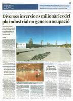Diverses inversions milionàries del pla industrial no generen ocupació