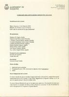 """Acta de la sessió de la Comissió organitzadora dels actes """"Roquetes 150 anys"""", febrer 2000"""