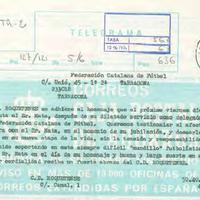 Telegrama del CD Roquetenc a la Federació Catalana de Futbol, 1990