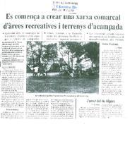 Es comença a crear una xarxa comarcal d'árees recreatives i terrenys d'acampada