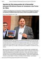 Els pressupostos de la Generalitat preveuen 26 milions d'euros en inversions a les Terres de l'Ebre