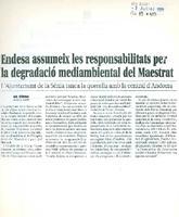 Endesa assumeix les responsabilitats per la degradació mediambiental del Maestrat