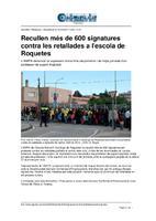 Recullen més de 600 signatures contra les retallades a l'escola de Roquetes.