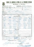 Acta de la Federació Catalana de Futbol del partit disputat entre CD Sant Jaume i el CD Roquetenc , el 18 de març 1982