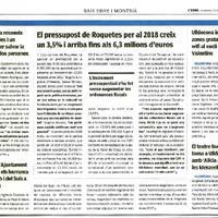 El pressupost de Roquetes per al 2018 creix un 3,5% i arriba fins als 6,3 milions d'euros.