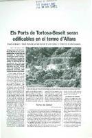 Els Ports de Tortosa-Beseit seran edificables en el terme d'Alfara.