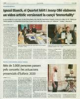"""Ignasi Blanch, el quartet Mèlt i Josep Ollé elaboren un vídeo artístic versionant la cançó """"Immortality""""."""
