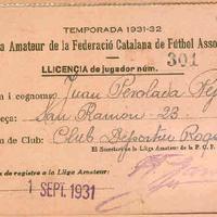 Fitxa federativa del CD Roquetenc a Juan Perolada Pepió