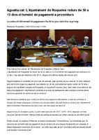 L'Ajuntament de Roquetes reduïx de 50 a 13 dies el termini de pagament a proveïdors.