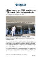 L'Ebre supera els 2.000 positius per PCR des de l'inici de la pandèmia.
