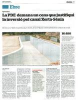 La PDE demana un cens que justifiqui la inversió pel canal Xerta-Sénia.