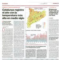 Catalunya registra el año con la temperatura más alta en medio siglo