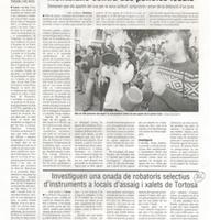 Investiguen una onada de robatoris selectius d'instruments a locals d'assaig i xalets de Tortosa
