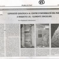 Exposició Geològica al centre d'informació del Parc a Roquetes (II): elements singulars