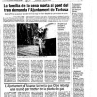 La família de la nena morta al pont del tren demanda l'Ajuntament de Tortosa