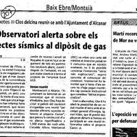 L'Observatori alerta sobre els efectes sísmics al dipòsit de gas
