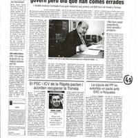 La cúpula del PP no autoritza un pacte amb ERC a Roquetes