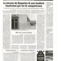 La piscina de Roquetes té una fondària insuficient per fer-hi competicions