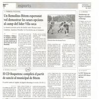 El CD Roquetenc complirà el partit de sanció al municipal de Bítem