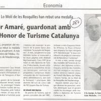 El restaurador Amaré, guardonat amb la Medalla d'Honor de Turisme Catalunya