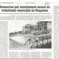 Denuncien per assetjament sexual un treballador municipal de Roquetes