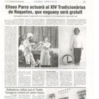 Eliseo Parra actuarà al XIV Tradicionàrius de Roquetes, que enguany serà gratuït