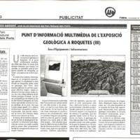 Punt d'informació multimèdia de l'exposició geològica a Roquetes (III)