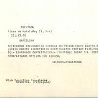 Comunicat de la Federació Catalana de Futbol al CD Roquetenc